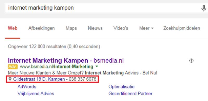 Update Google locatie-extensies in Google Mijn Bedrijf