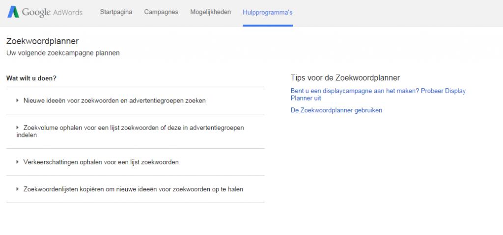 google zoekwoord planner