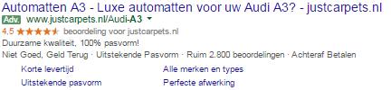 Google beoordelingssterren voorbeeld