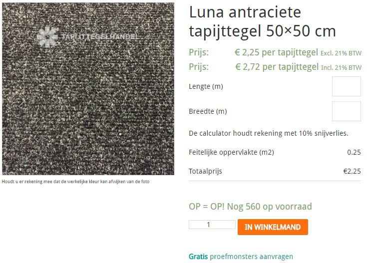 winkelvoorraad tapijttegelhandel