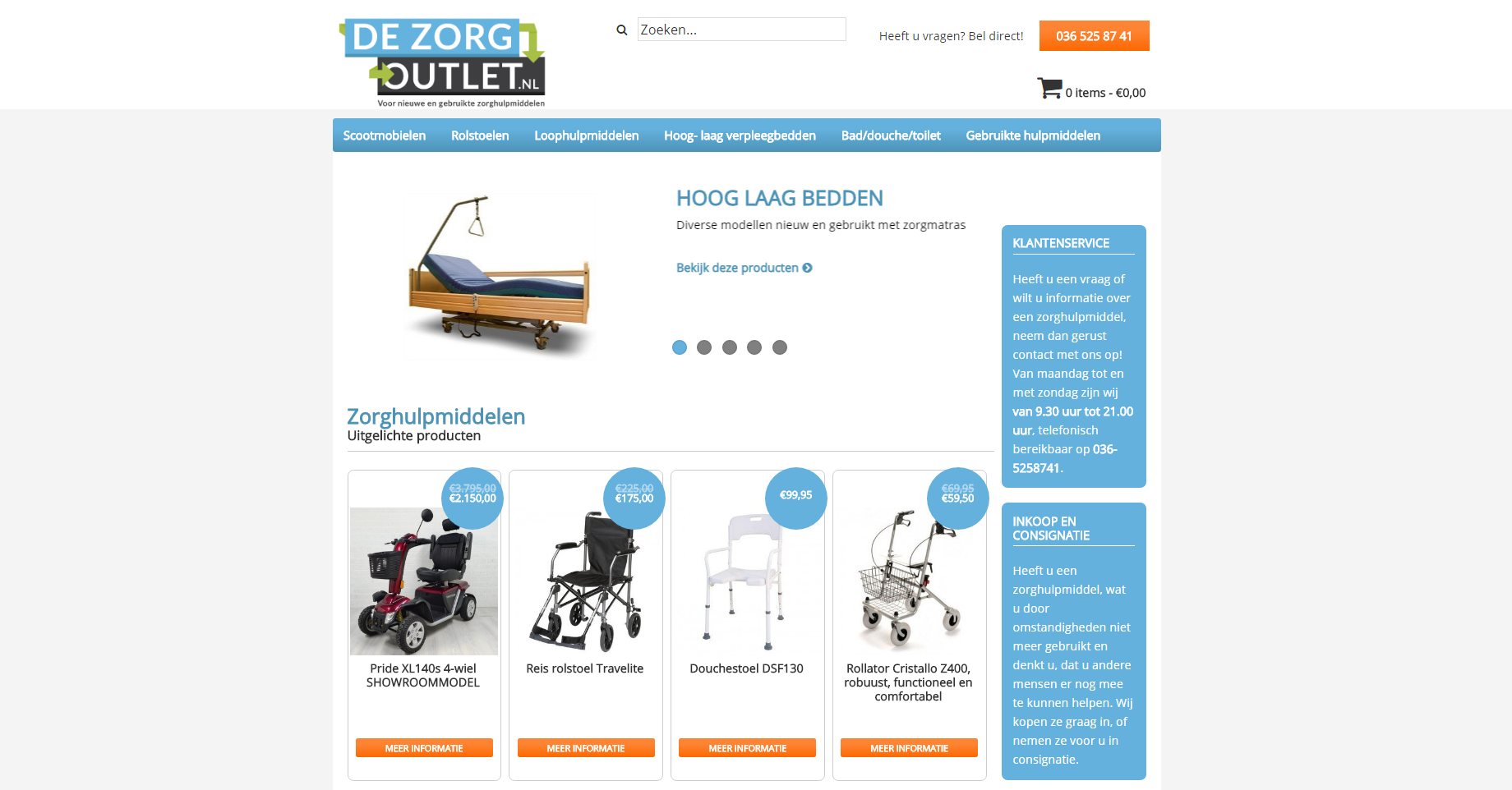 De zorgoutlet website