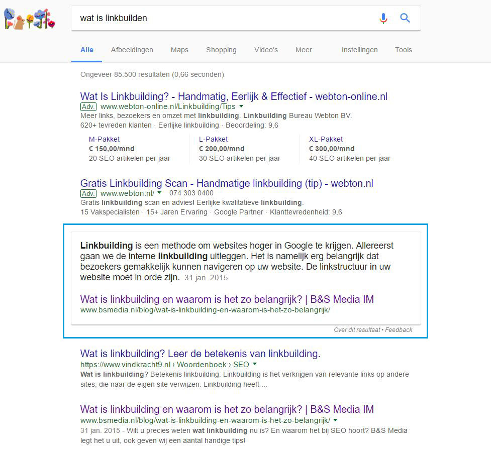 Featured Snippet: Wat is linkbuilden