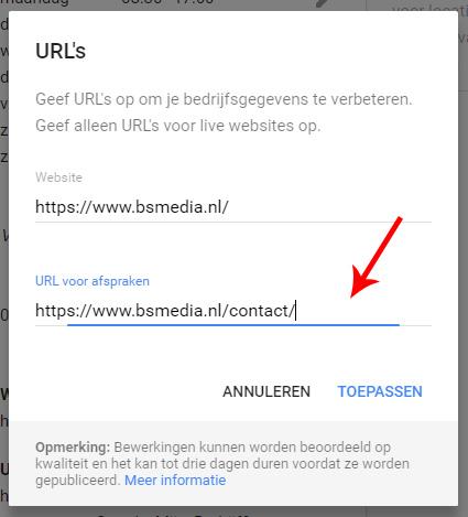 Google Mijn Bedrijf extra url toevoegen
