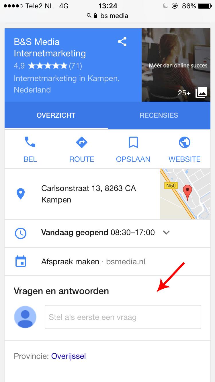 Google Mijn Bedrijf vraag & antwoord