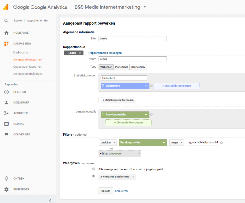Leads uit Google Analytics - aangepaste rapporten