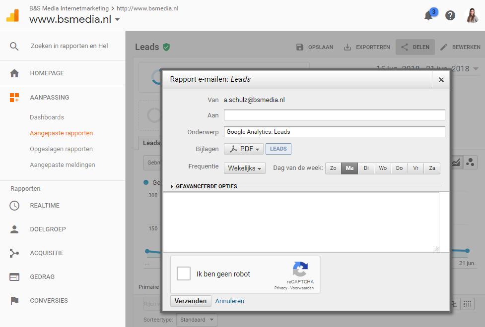 Leads uit Google Analytics - automatisch email instellen