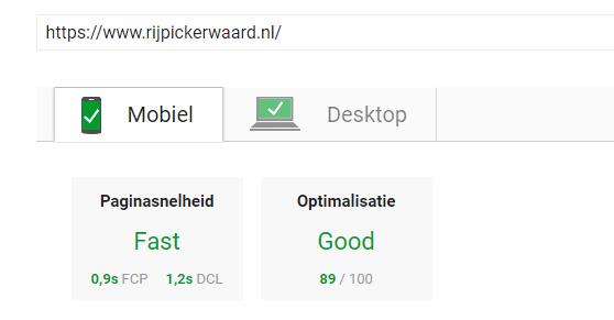PageSpeed Stichting Rijpickerwaard