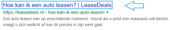 Vraag in de page title