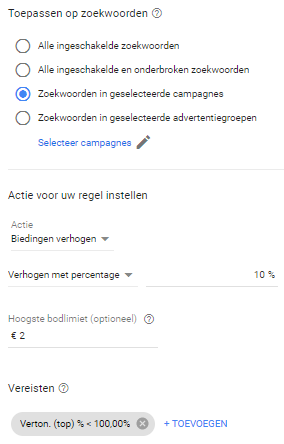 Automatische regel om biedingen te verhogen in Google Ads