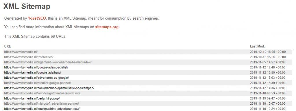 Voorbeeld XML sitemap B&S Media
