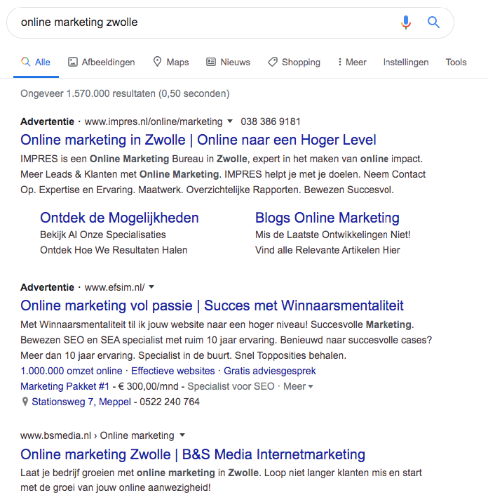 Voorbeeld Online Marketing Zwolle