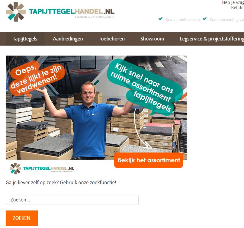 404-pagina Tapijttegelhandel
