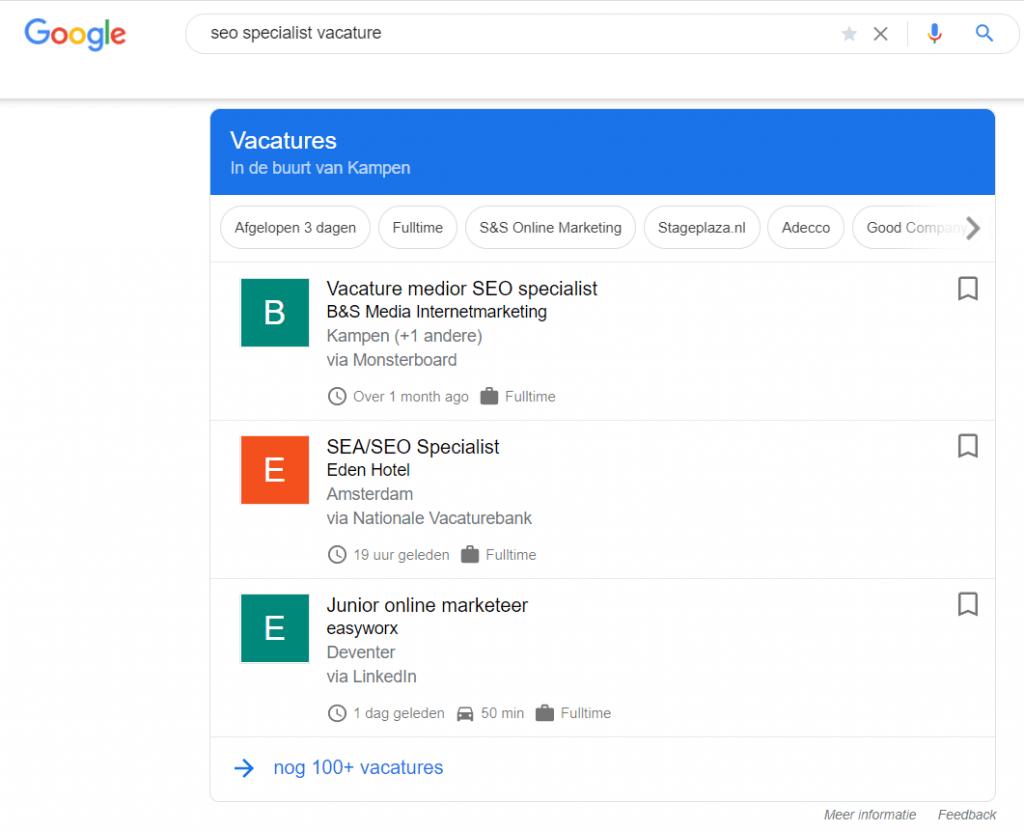 Voorbeeld Google for Jobs